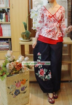 Chinese Classic Embroidered Large Peony Cotton and Flax Trousers