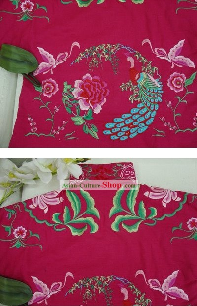 Supreme Chinese Traditional Hands Embroidered Phoenix Warm Cotton Jacket (pink)