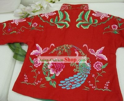 Supreme Chinese Traditional Hands Embroidered Phoenix Warm Cotton Jacket (red)