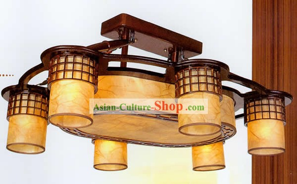 33 Inches Length Large Chinese Classical Sheepskin and Wooden Ceiling Lantern