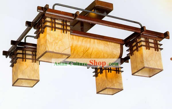 30 Inches Length Large Chinese Classical Sheepskin and Wooden Ceiling Lanterns Complete Set