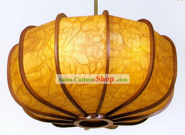 25 Inches Large Chinese Traditional Hand Made Pumpkin Shape Sheepskin Wooden Ceiling Lantern