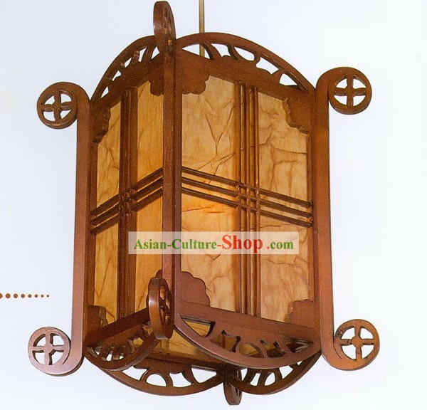 21 Inches Chinese Hand Made Carved Carriage Shape Wooden Ceiling Lantern