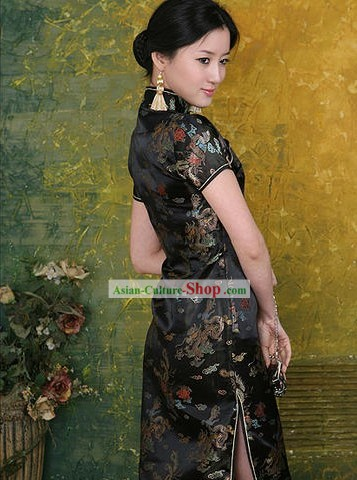 Chinese Classical Phoenix and Dragon Pattern Cheongsam (Qipao)