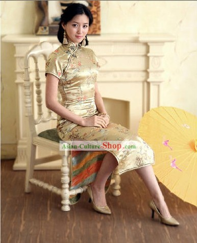 Chinese Classical Beige Phoenix and Dragon Pattern Cheongsam (Qipao)