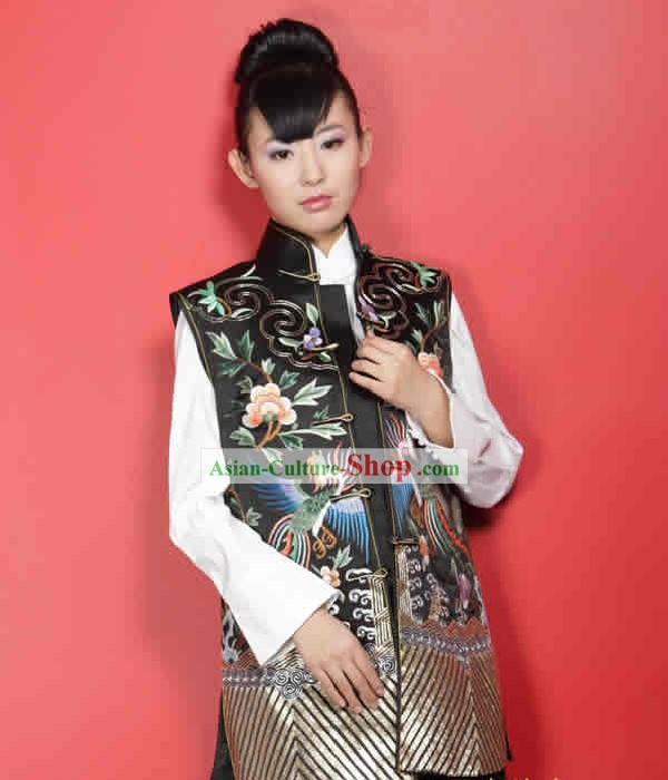 Stunning Supreme Chinese Mandarin All Hand Embroidery Phoenix Silk Cheongsam (black)