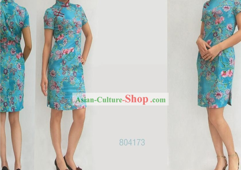 Chinese Stunning Light Blue Butterfly and Flower Cheongsam (Qipao)