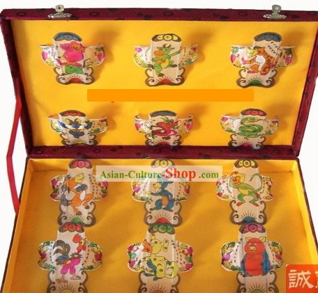 Chinese Traditional Weifang Hand Painted and Made 12 Kites Set - Chinese Zodiac (Sheng Xiao)