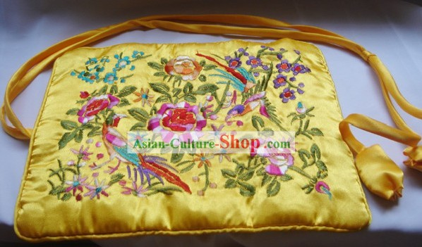 Chinese Traditional Gold Bird and Flower Embroidery Handbag