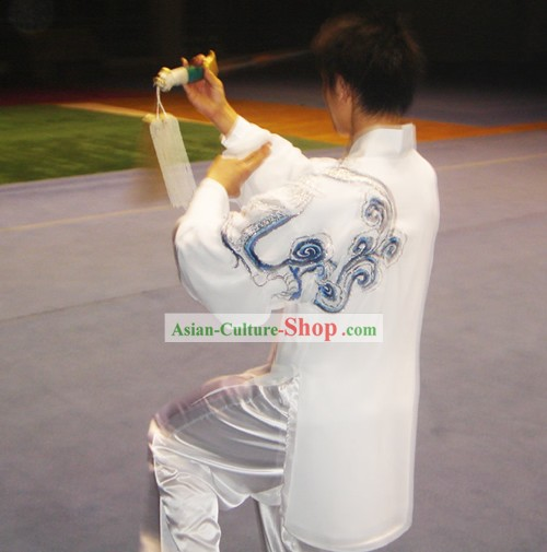 Chinese Traditional Tai Chi Kung Fu Embroidery Cloud Performance Uniform Set
