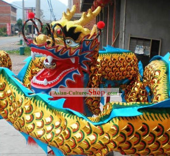 Traditional Chinese Golden Armor Dragon Dance Costume Complete Set
