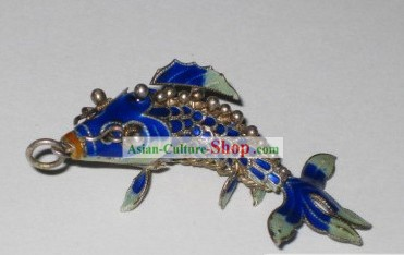 Chinese Traditional Cloisonne Silver Handicraft- Deep Blue Goldfish