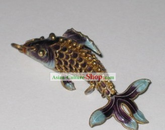 Chinese Traditional Cloisonne Silver Handicraft- Purple Goldfish
