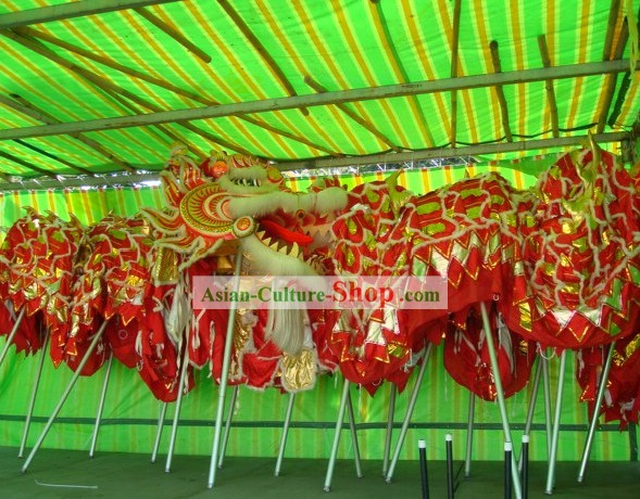 Supreme Chinese Traditional Large Classic Sheep Wool Dragon Dance Equipments Complete Set (red)