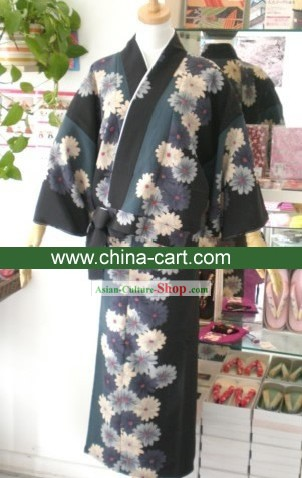 Traditional Ancient Flowery Japanese Kimono Handbag and Geta Full Set