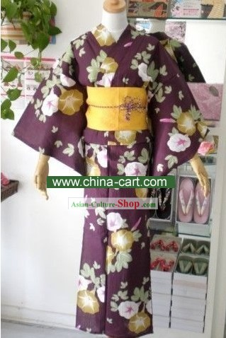 Traditional Purple Morning Glory Japanese Kimono Handbag and Geta Full Set