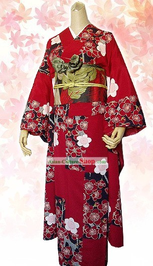Supreme Silk Japanese Kimono Attire Handbag and Geta Full Set