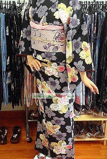 Traditional Japanese Peony Kimono and Belt Full Set