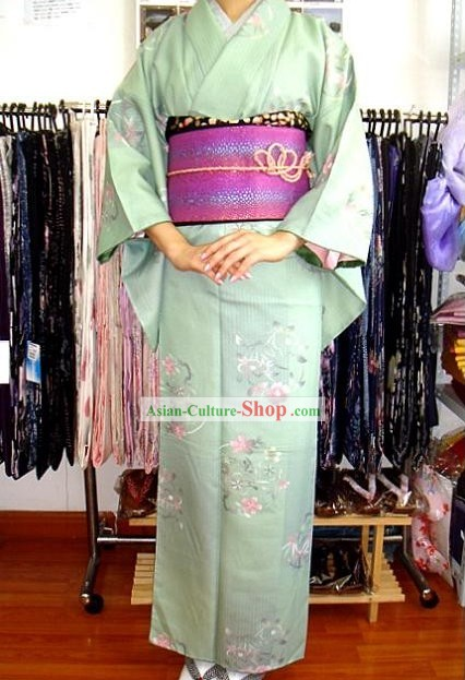 Traditional Japanese Romantic Light Blue Kimono and Belt Full Set