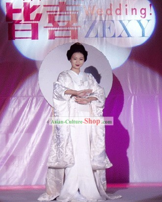 Traditional Japanese Pure White Wedding Kimono and Belt Full Set