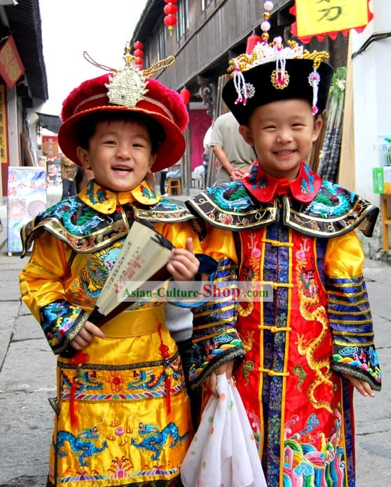 China Ancient Emperor Kids Costumes Complete Set