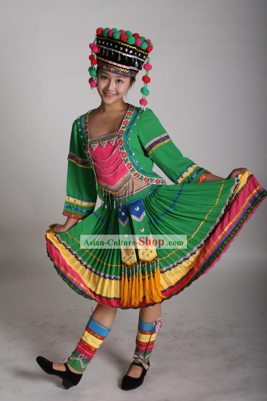 Chinese Traditional Minority Dance Costumes and Hat Complete Set