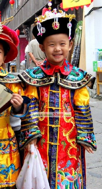Ancient Chinese Empress Clothing and Hat Complete Set for Children