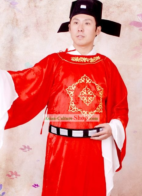 Ancient Chinese Number One Scholar Costumes and Hat Complete Set