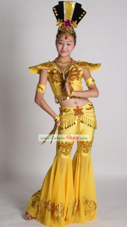 Chinese Classic Fei Tian (Flying Apsaras) Costumes, Hair Decoration and Accessories Complete Set