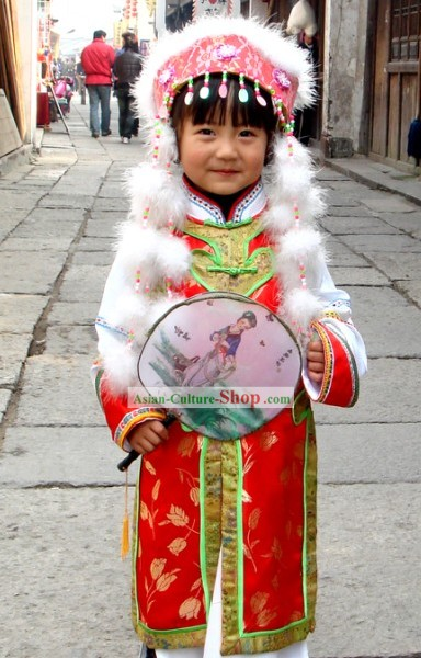 Chinese Traditional Folk Dance Costumes Complete Set for Children