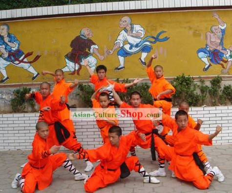 Traditional Chinese Martial Arts Shaolin Monks Costumes Complete Set