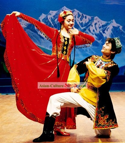 Chinese Traditional Xinjiang Minority Dance Costumes for Men and Women