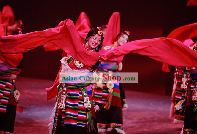 Traditional Tibet Dance Costumes with Long Sleeve