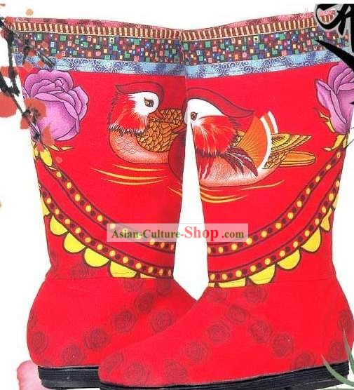 Traditional Chinese Hand Embroidery Mandarin Duck Cloth Boots