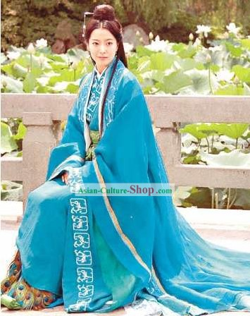 Ancient China Qin Dynasty Princess Blue Cinema Costumes