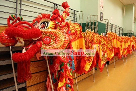 Traditional Chinese Happy Festival Celebration Dragon Dance Costume Complete Set