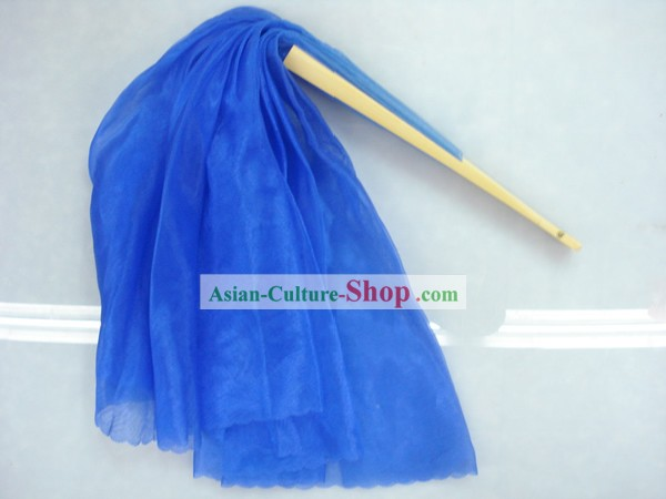 Chinese Traditional Blue Silk Dance Fan