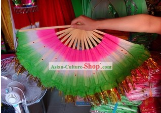 Chinese Traditional Sequins Fan Two Pieces Set