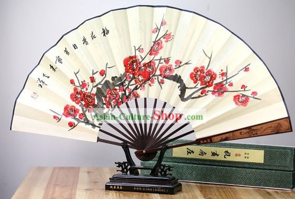 Chinese Hand Painted Plum Blossom Fan
