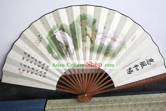 Chinese Hand Painted Large Wall Fan - Birds
