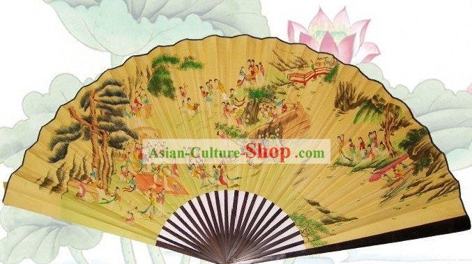 65 Inches Chinese Traditional Handmade Hanging Silk Decoration Fan - 100 Ancient Beauties