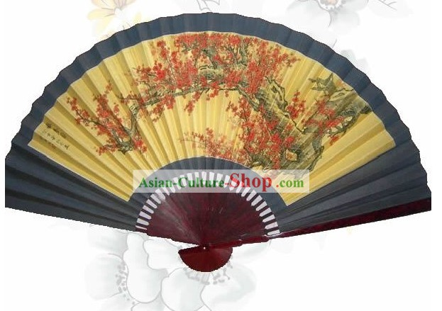 Hand Painted Plum Blossom Large Standing Wall Fan