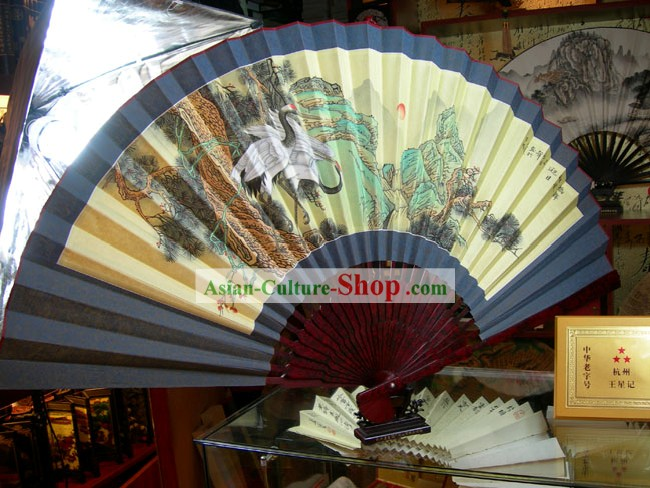Chinese Hand Painted Large Wall Fan