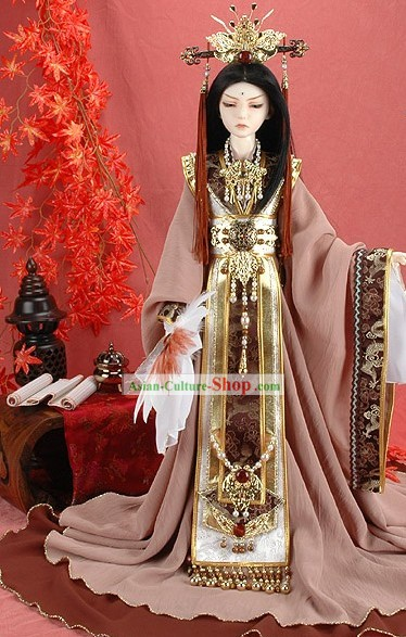 China Ancient Dynasty Emperor Costumes and Hat Full Set