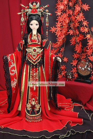 Supreme Chinese Classic Princess Costumes and Hair Decoration Complete Set