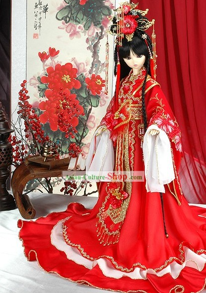 Ancient Chinese Traditional Wedding Costumes Complete Set for Bride