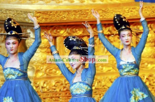 Chinese Blue Palace Dance Costumes for Beijing Olympic Games Opening