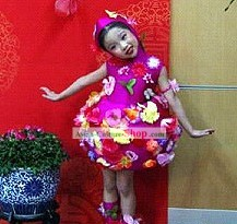 Chinese Flower Modern Dance Costumes for Kids