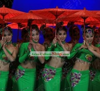 Chinese Traditional Dai Minority Dance Costumes Complete Set for Women