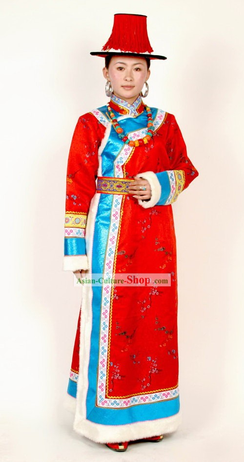 Tibetan Traditional Costumes and Hat Set